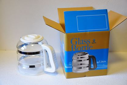Obrázok pre výrobcu Biela sklenená nádoba + náhradný nos biely so sklom